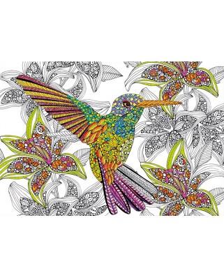 Puzzle de colorat Educa - Hummingbird, 300 piese, include lipici puzzle (17083)