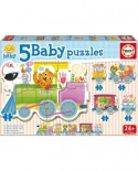 Puzzle Educa - Animals train, 3/3/4/4/5 piese (17142)