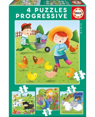 Puzzle Educa - Farm Animals, 6/9/12/16 piese (17145)