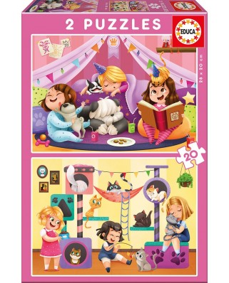 Puzzle Educa - Pijama Party, 2x20 piese (17148)