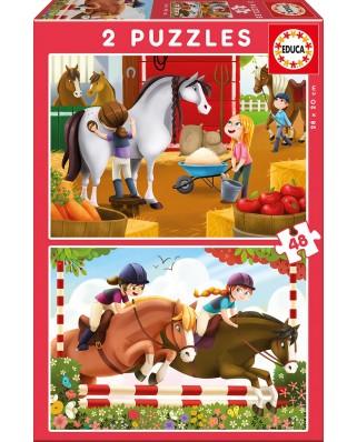 Puzzle Educa - Horses, 2x48 piese (17150)