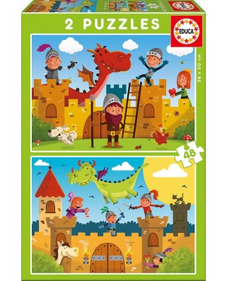 Puzzle Educa - Dragons and Knights, 2x48 piese (17151)