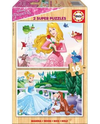 Puzzle din lemn Educa - Disney Princess, 2x16 piese (17163)