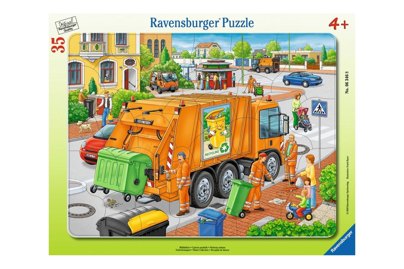 Puzzle Ravensburger - Masina De Colectat Gunoi, 35 piese (06346)