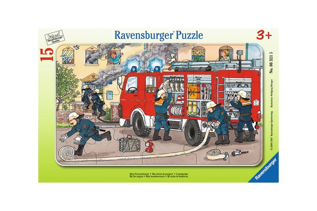 Puzzle Ravensburger - Masina De Pompieri, 15 piese (06321)