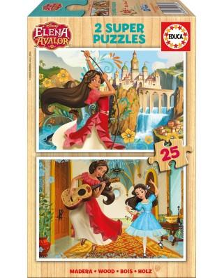 Puzzle din lemn Educa - Elena d'Avalor, 2x25 piese (17235)
