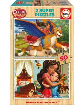 Puzzle din lemn Educa - Elena d'Avalor, 2x50 piese (17237)