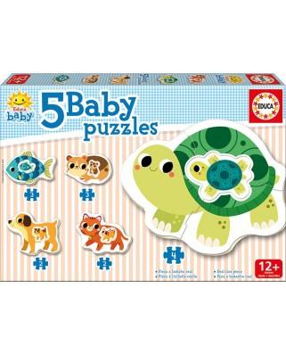 Puzzle Educa - Pets, 2/2/3/3/4 piese (17573)