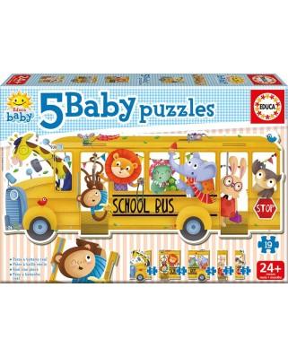 Puzzle Educa - School Bus, 3/3/4/4/5 piese (17575)