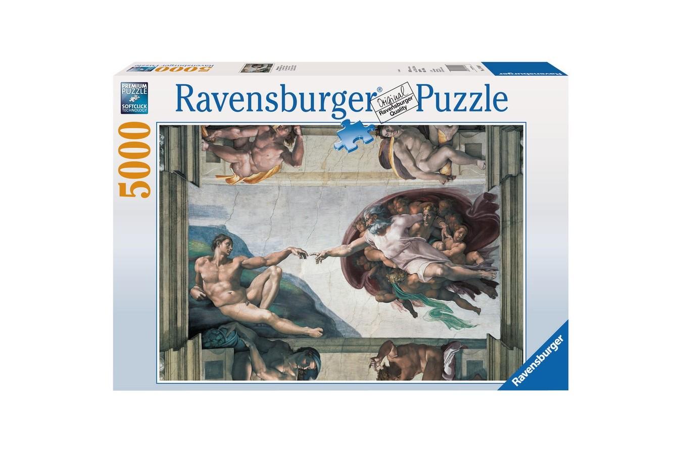 Puzzle Ravensburger - Michelangelo: Michelangelo - Crearea Lui Adam, 5.000 piese (17408)