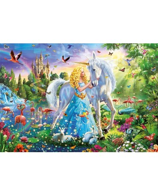 Puzzle Educa - The princess and the unicorn, 1000 piese, include lipici puzzle (17654)
