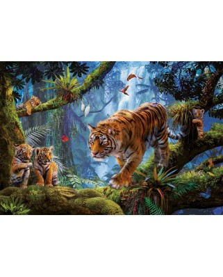 Puzzle Educa - Tigers in the tree, 1000 piese, include lipici puzzle (17662)