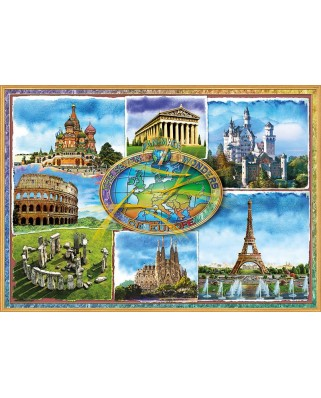 Puzzle Educa - Seven wonders of Europe, 1500 piese, include lipici puzzle (17667)