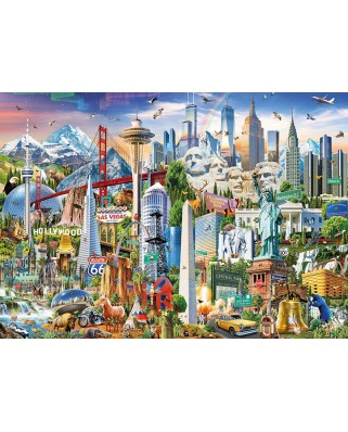 Puzzle Educa - North America Landmarks, 1500 piese, include lipici puzzle (17670)
