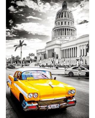 """Puzzle Educa - Taxi in La Havana, Cuba """"Coloured Black & White"""", 1000 piese, include lipici puzzle (17690)"""