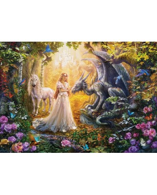 Puzzle Educa - Dragon, princess and unicorn, 1500 piese, include lipici puzzle (17696)