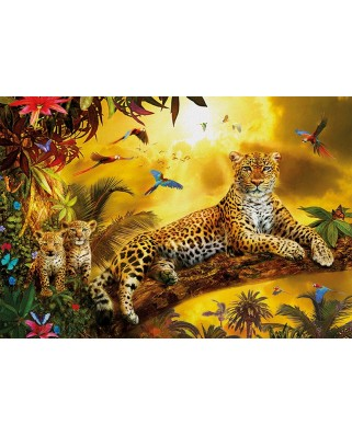 Puzzle Educa - Leopard and his cubs, 500 piese, include lipici puzzle (17736)