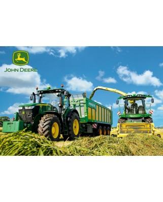 Puzzle Schmidt - Tractor 7310R si masina de recoltat furaje 8600i, 100 piese, include 1 tractor Siku (56044)
