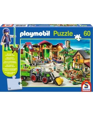Puzzle Schmidt - La ferma, 60 piese, include 1 figurina Playmobil (56040)