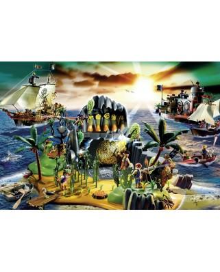 Puzzle Schmidt - Insula piratilor, 150 piese, include 1 figurina Playmobil (56020)