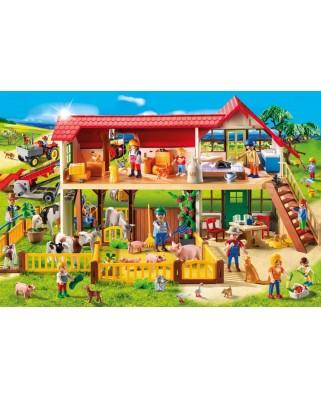 Puzzle Schmidt - La ferma, 100 piese, include 1 figurina Playmobil (56163)