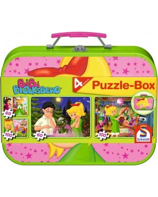 Puzzle Schmidt - Bibi Blockserg, 2x60 + 2x100 piese, cutie metalica (55595)