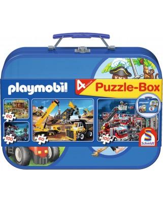 Puzzle Schmidt - Playmobil, 2x60 + 2x100 piese, cutie metalica (55599)