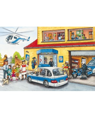 Puzzle Schmidt - Brigada de pompieri si politie, 3x24 piese, include 1 poster (56215)