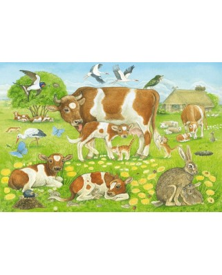 Puzzle Schmidt - Familii de animale, 3x48 piese, include 1 poster (56222)