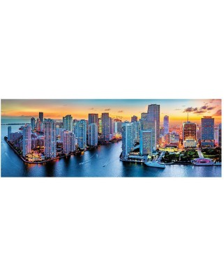 Puzzle panoramic Trefl - Miami by Night, 1.000 piese (53203)