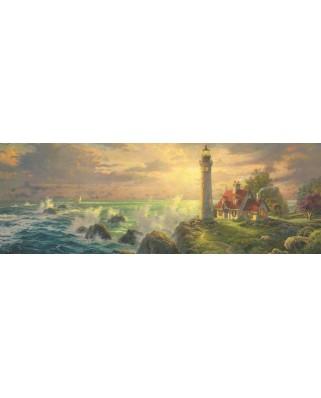 Puzzle panoramic Schmidt - Thomas Kinkade: Far cu peisaj marin, 1.000 piese (59477)