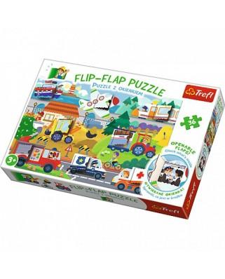 Puzzle Trefl - Flip Flap Puzzle - Vehicles, 36 piese (64774)