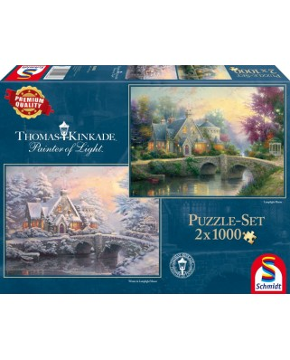 Puzzle Schmidt - Thomas Kinkade: Conac in lumina serii / Iarna la conac, 2x1.000 piese (59468)