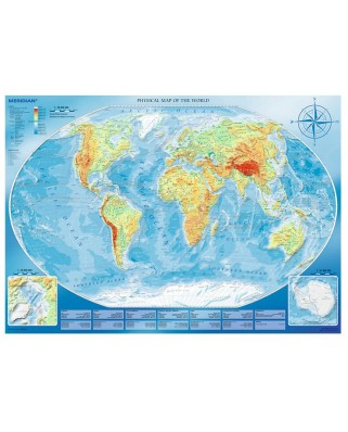 Puzzle Trefl - Large Physical Map of the World, 4.000 piese (64903)
