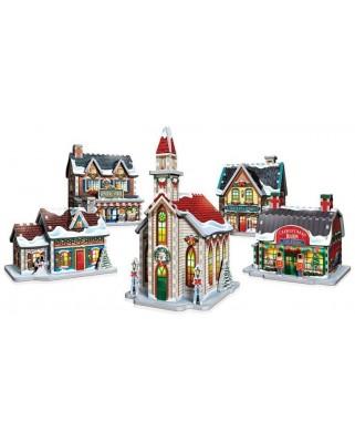 Puzzle 3D Wrebbit - Christmas Village, 116 piese (61358)