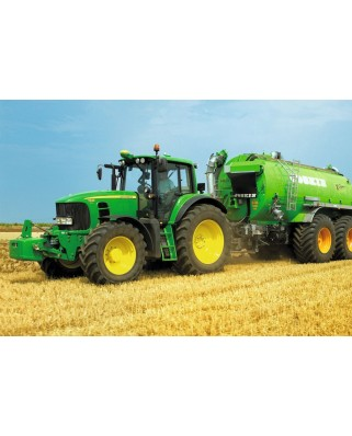Puzzle Schmidt - Tractor 7530 cu si cisterna pentru gunoi, 200 piese, include 1 tractor Siku (55628)