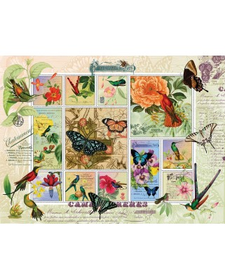 Puzzle SunsOut - Finchley Arts - Butterfly and Hummingbird Flight, 1.000 piese (64225)
