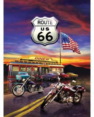Puzzle SunsOut - Greg Giordano: Route 66 Diner, 1.000 piese (64033)