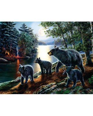 Puzzle SunsOut - James A. Meger: Bear Moon, 1.000 piese XXL (63945)