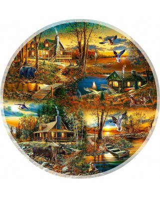 Puzzle SunsOut - Jim Hansel: Cabins in the Woods, 1.000 piese (64241)
