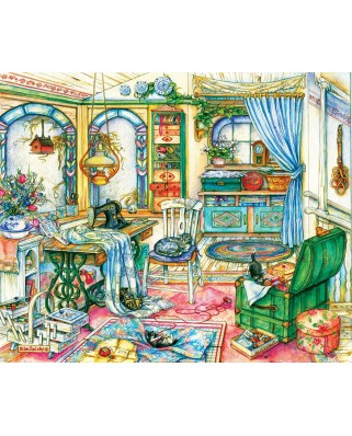 Puzzle SunsOut - Kim Jacobs: My Sewing Room, 1.000 piese (63927)