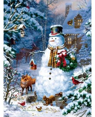 Puzzle SunsOut - Liz Goodrich Dillon: Winter Cabin Snowman, 1.000 piese (64253)
