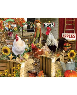 Puzzle SunsOut - Lori Schory: Chickens on the Farm, 1.000 piese XXL (64009)