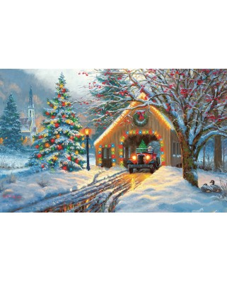 Puzzle SunsOut - Mark Keathley: Chirstmas Crossing, 550 piese (64204)