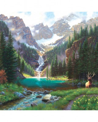 Puzzle SunsOut - Mark Keathley: Elk at the Waterfall, 1000 piese (64195)