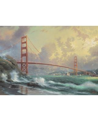 Puzzle Schmidt - Thomas Kinkade: Podul Golden Gate, 1000 piese, cutie metalica (59802)