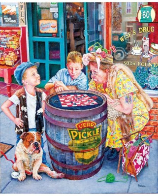 Puzzle SunsOut - Susan Brabeau: Playing Checkers, 1.000 piese (64102)