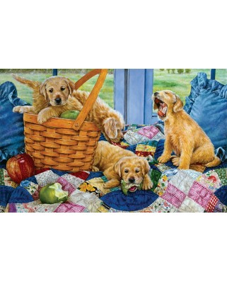 Puzzle SunsOut - Susan Brabeau: Puppies in a Basket, 550 piese (64104)