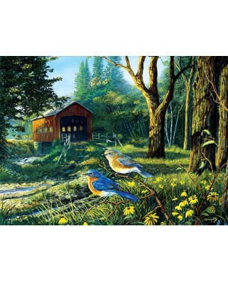 Puzzle SunsOut - Terry Doughty: Sleepy Hollow Blue Birds, 1.000 piese (64346)