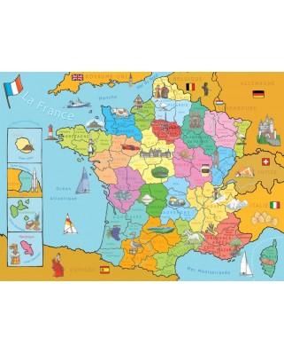 Puzzle Nathan - Map of France, 250 piese (4494)